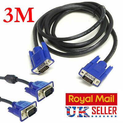 Svga/vga 15 Pin Male To Male Pc Monitor Tv Lcd Plasma Projector Tft Cable Lead • 3.99£