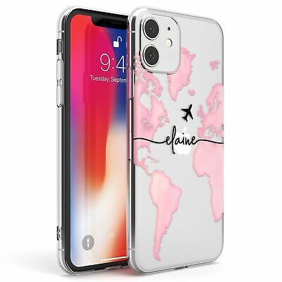 Personalised Watercolour World Map Light Pink Slim TPU Case For IPhone • 7.95£