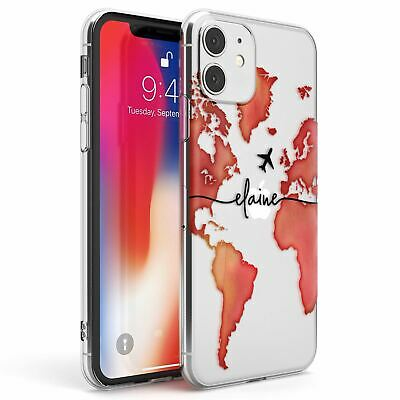 Personalised Watercolour World Map Red Slim TPU Case For IPhone Wanderlust • 7.95£