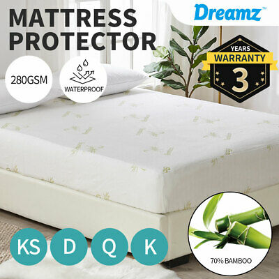 AU31.99 • Buy DreamZ Mattress Protector Bamboo Fully Fitted  Thickened Cover Waterproof Topper