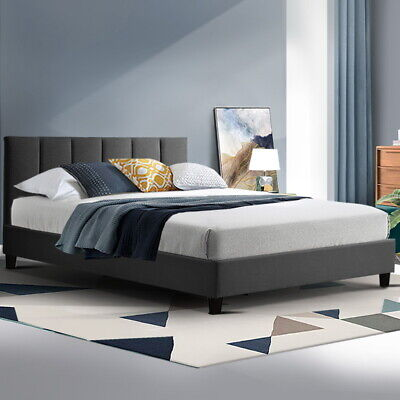 AU198.90 • Buy ANNA Bed Frame Double Size Mattress Base Platform Fabric Wooden Charcoal