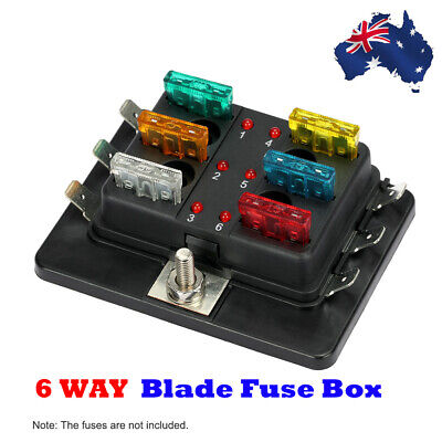 AU14.81 • Buy 12V 24V 6-Way Blade Fuse Box Block Holder ATO ATC LED Indicator Car Boat AU