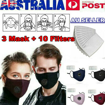 AU12.90 • Buy Washable Reusable PM 2.5 Anti Air Pollution Face Mask With Respirator 10 Filters