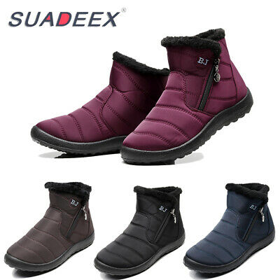 Womens Ankle Snow Boots Warm Fur Lined Zipper Outdoor Waterproof Anti-Slip Shoes • 16.99£