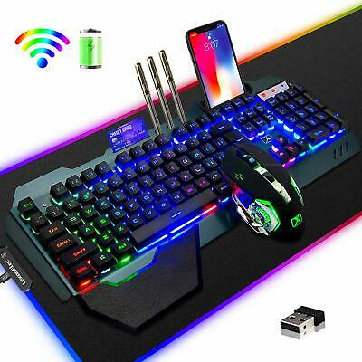 AU90.23 • Buy Wireless RGB LED Backlit USB Gaming Set Keyboard Mouse And RGB Mice Pad For PS4