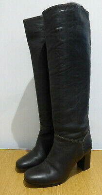 Chloe Brown Textured Leather Tall Chunky Heeled Pull On Boots 38 5 VGC • 75£