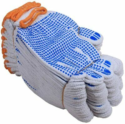 £8.99 • Buy 12 Pairs White Cotton Protective Work Gloves For Factory Garden Working AntiSlip