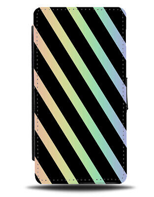 Black And Rainbow Stripe Pattern Flip Cover Wallet Phone Case Stripes Lines I900 • 11.99£