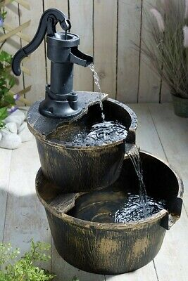 Solar Two-Tier Cascade Barrel Water Fountain Garden Feature COLLECTION Only CW1  • 45£