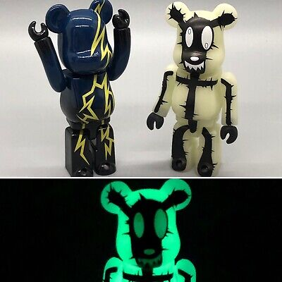 $55 • Buy Rare Medicom 100% Bearbrick Pattern Lightning+Glow In Dark Horror 2pcs US Seller