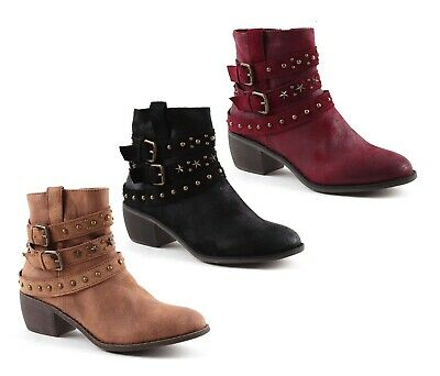 Womens Block Heel Ankle Cowboy Western Vegan Leather Zip Up Boots Shoes Size  • 14.99£