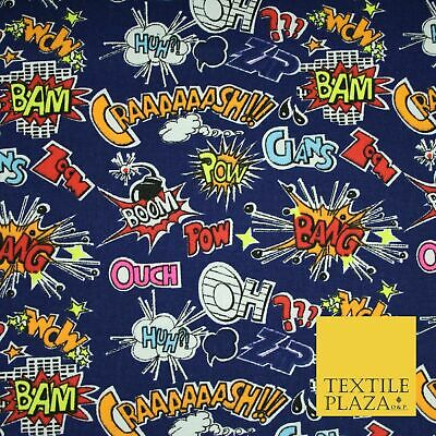 Blue Comic Book Sound Effect OUCH BOOM POW Printed Cotton Canvas Fabric 59  4131 • 12£
