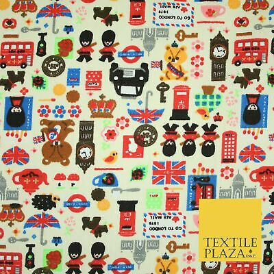 Cream LONDON Taxi Union Jack Stamp Novelty Printed Cotton Canvas Fabric 59  4132 • 12£