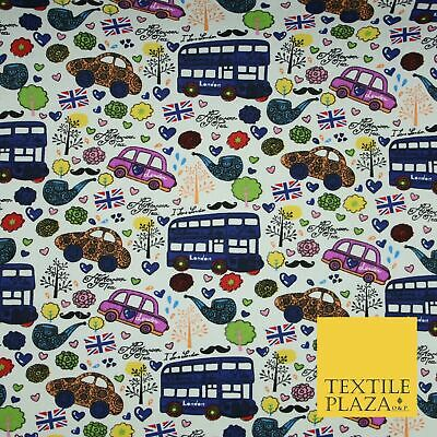 White LONDON Theme Bus Taxi Union Jack Printed Cotton Canvas Fabric 58  4135 • 10.50£