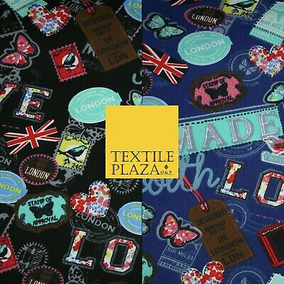 LOVE LONDON Stamp Tag Heart Union Jack Novelty Printed Cotton Canvas Fabric 58  • 12£
