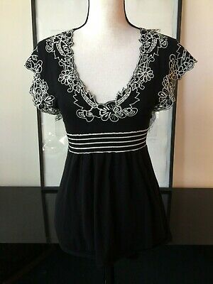 $ CDN17.61 • Buy Moth Anthropologie Top XS Black Embroidered Lace Trim