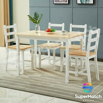 AU269.59 • Buy Wooden Dining Table & Chairs Set Modern Kitchen Dining Room Furniture White/Oak