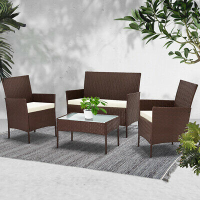 AU266.90 • Buy Gardeon Garden Furniture Outdoor Lounge Setting Rattan Set Patio Chairs Table