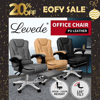 AU174.99 • Buy Levede Office Chair Gaming Recliner Racing Computer Chairs PU Executive Footrest