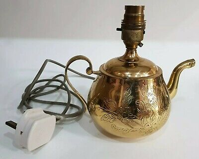 Vintage Retro Brass Teapot Table Lamp Light Nightstand Made In England Ref5P0 • 37£