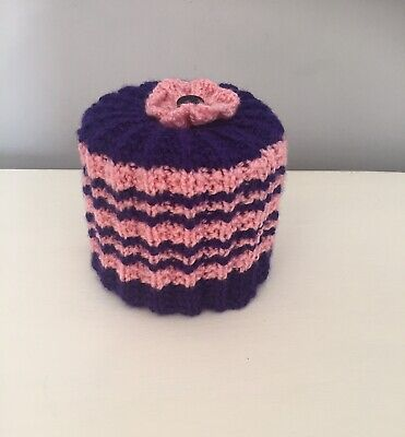 Hand Knitted Pink And Purple Toilet Roll Cover • 4.25£