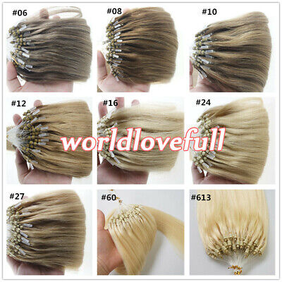 £14.80 • Buy Micro Ring Beads Loop Tip Hair Extensions Brazilian Remy Human Hair Thick1g/s 9A
