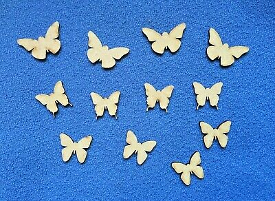 12 X Wooden MDF  Mini BUTTERFLY Craft Shapes Blanks  • 2.50£