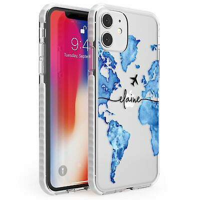 Personalised Watercolour World Map Blue Impact Case For IPhone Wanderlust • 10.95£