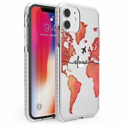 Personalised Watercolour World Map Red Impact Case For IPhone Wanderlust • 10.95£