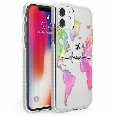 Personalised Watercolour World Map Rainbow Impact Case For IPhone Wanderlust • 10.95£