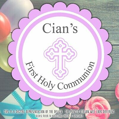 Personalised Baptism Christening Stickers Pink First Holy Communion Labels • 2.39£
