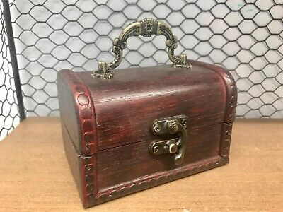 Rustic Dark Wooden Box Colonial Style Trunk Treasure Chest Vintage Storage  • 8.99£