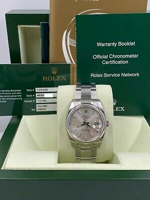 $ CDN7519.30 • Buy BRAND NEW BNOS Rolex Date 115200 Silver Dial Stainless Steel Box Papers STICKERS