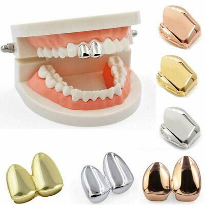 Single Double Cap Gold Plated Tooth Cap Hip Hop Teeth Grill Jewellery Grills • 3.69£