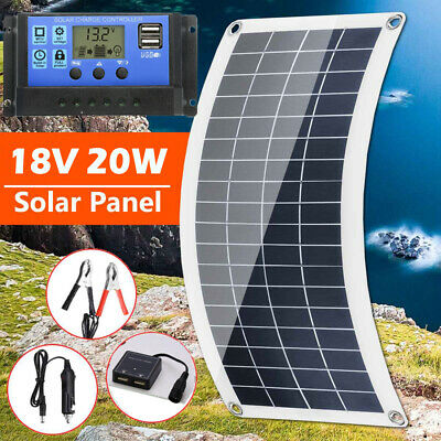 £18.99 • Buy 20W Solar Panel 18 Volt Trickle Battery Charger 30A Controller For Car Van Boat