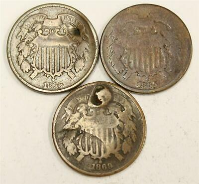 $ CDN70 • Buy 1865 1866 And 1869 USA Two Cent Pieces 3-coins Damaged