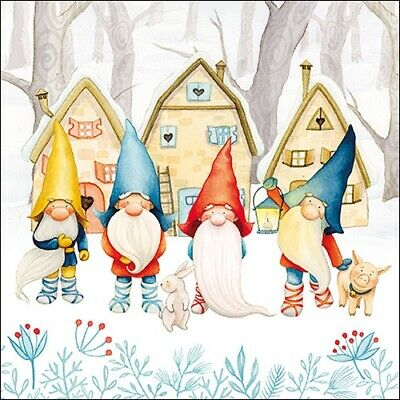 £2.50 • Buy 5 Paper Napkins Gnomes Pack Of 5 3 Ply Tissue Serviettes Christmas