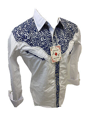 $27.99 • Buy Men RODEO WESTERN COUNTRY WHITE BLUE STITCH TRIBAL SNAP UP Shirt Cowboy 05585