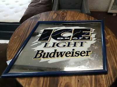 $ CDN150.62 • Buy Vintage Bud Ice Draft Beer Mirror Sign Anheuser Busch Budweiser