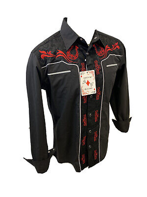 $19.95 • Buy Men RODEO WESTERN COUNTRY BLACK RED STITCH TRIBAL SNAP UP Shirt Cowboy 05530