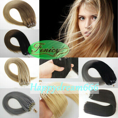 £21.14 • Buy Micro Ring Beads Loop Link Hair Extensions Double Drawn Real Remy Human Hair1g/s