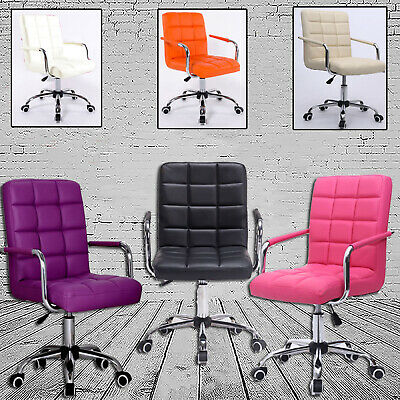 AU88.99 • Buy Office Chair Swivel PU Leather Cushioned Computer Desk Chair Studio Salon Barber