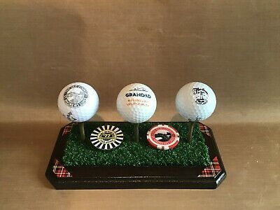 GOLF GIFT Hand-crafted DELUXE 'Golden Tee' Golf Ball & Marker Display Plinth • 12.50£