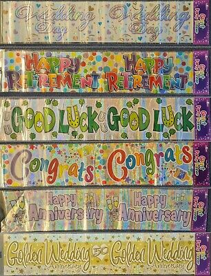 Foil Banner For Him Or Her - Various Occasions - 2.7m 9 Ft - Or 3 90cm Sashes • 1.59£
