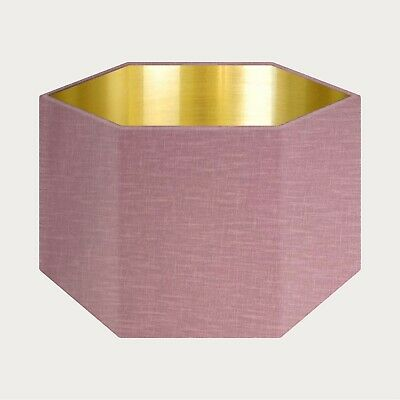 £39.50 • Buy Lampshade Mauve Textured 100% Linen  Brushed Gold Rounded Hexagon Light Shade