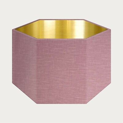 £49.50 • Buy Mauve 100% Textured Linen Fabric Brushed Gold Rounded Hexagon Lampshade