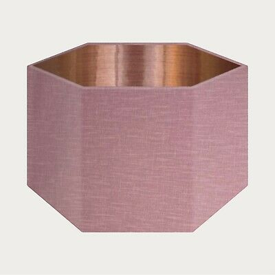 £39.50 • Buy Lampshade Mauve Textured 100% Linen Brushed Copper Rounded Hexagon Light Shade
