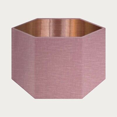 £49.50 • Buy Mauve 100% Textured Linen Fabric Brushed Copper Rounded Hexagon Lampshade