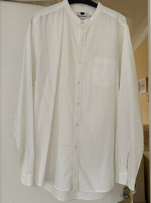 Mens White Tunic Shirt UK Large Top Man • 4.50£