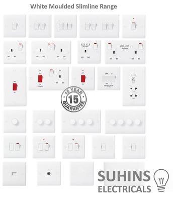 PREMIUM White Flat Slimline Moulded Electrical Sockets And Switches USB • 6.95£